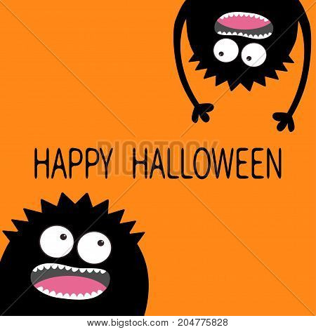 Screaming monster head silhouette set. Two eyes teeth tongue hands. Hanging upside down. Black Cute cartoon character. Baby collection. Happy Halloween card. Flat design. White background. Vector