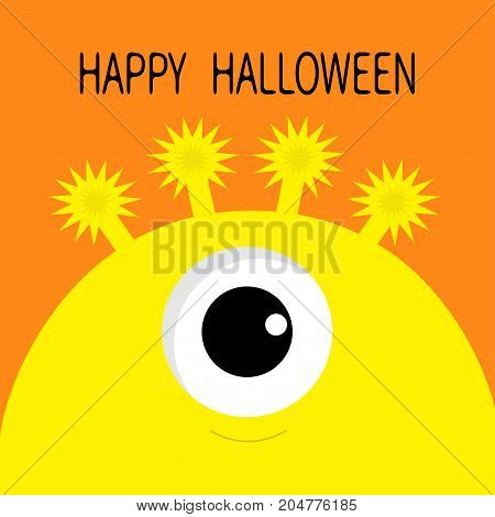 Happy Halloween card. Monster head silhouette with one eye. Yellow color Funny Cute cartoon character. Baby collection. Flat design. Orange background. Vector illustration