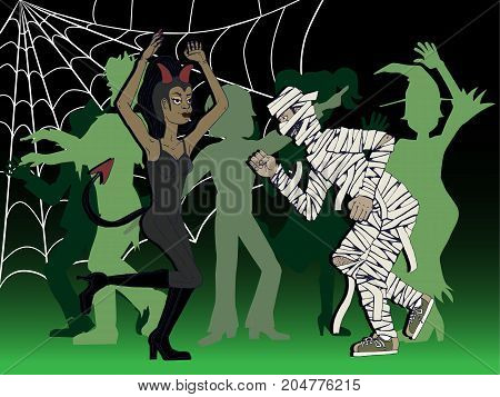 vector illustration of a woman disguised as a devil and a man disguised as a mummy dancing at a halloween party