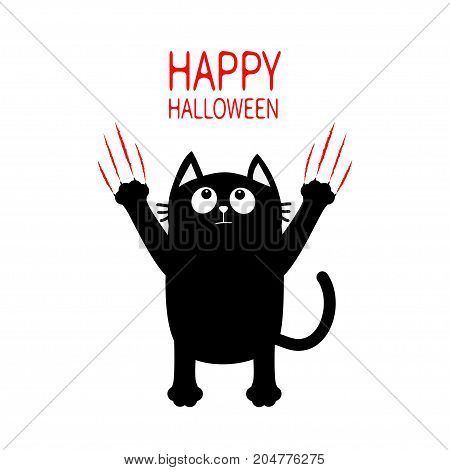 Happy Halloween. Black cat claw red scratch glass. Kitten standing. Cute cartoon funny baby character. Greeting card. Scary surprised face emotion. White background. Isolated. Flat design. Vector