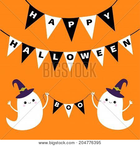 Flying ghost spirit holding bunting flag Boo. Happy Halloween. Two scary white ghosts. Witch hat. Cute cartoon spooky character. Smiling face hands. Orange background Greeting card Flat design Vector