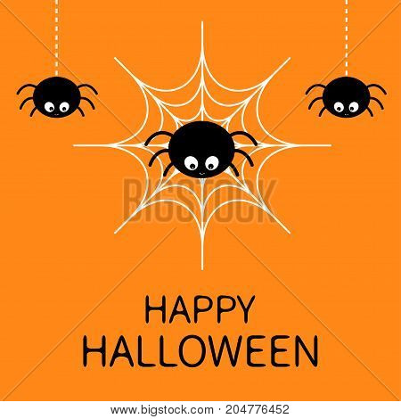 Happy Halloween card. Spider on the web. Cute cartoon baby character. Three hanging spiders. Insect set. Dash line. Cobweb white. Flat design. Orange background. Vector illustration
