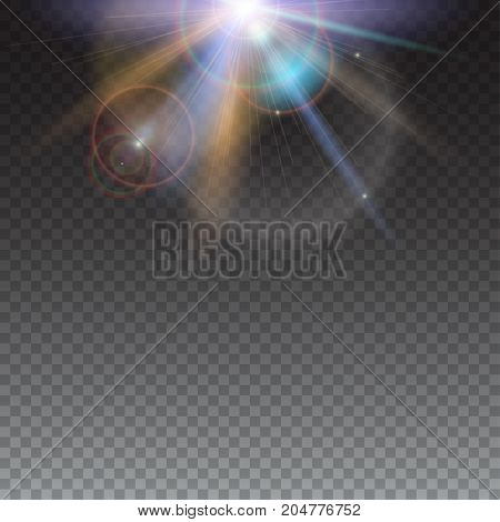 Design elements template with glow light effect on transparent background. Bright light of sun rays and lens flare backdrop. Star burst with sparkles. Abstract space background with beams