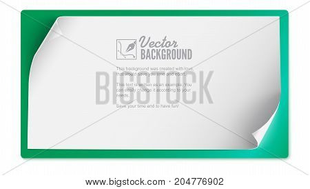 Vector curved paper banner isolated on colored background. White blank paper curved horizontal banner. Realistic vector paper template with curl corners, 3D illustration.