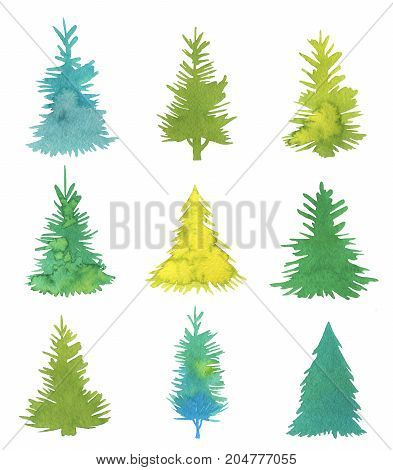 Set made of hand-drawn watercolor fir trees isolated on white background. Minimalist design illustration