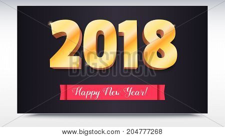 Happy New Year 2018. Volumetric numbers from gold. Red banner with text. Congratulation poster on dark backdrop. Greeting card, poster, brochure or flyer template. Vector 3D illustration