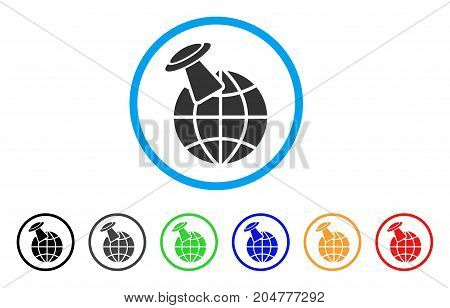 Alien Visit rounded icon. Style is a flat alien visit gray symbol inside light blue circle with black, gray, green, blue, red, orange color versions. Vector designed for web and software interfaces.