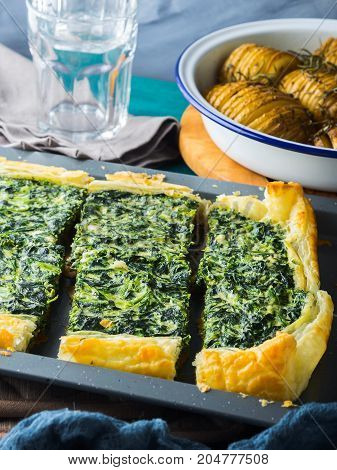 Lunch With Spinach Quiche And Potatoes