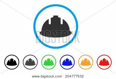 Builder Helmet rounded icon. Style is a flat builder helmet grey symbol inside light blue circle with black, gray, green, blue, red, orange color versions.
