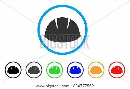 Builder Helmet rounded icon. Style is a flat builder helmet gray symbol inside light blue circle with black, gray, green, blue, red, orange variants. Vector designed for web and software interfaces.