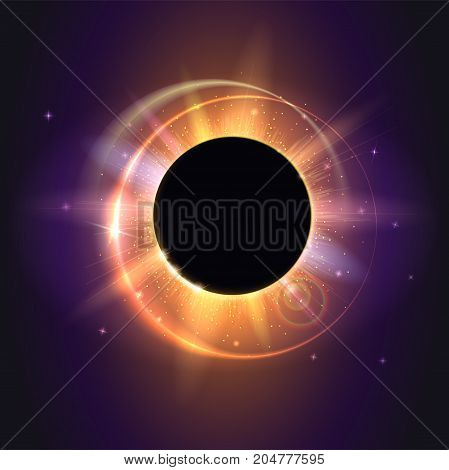 Solar eclipse, astronomical phenomenon - full sun eclipse. Scientific background - total solar eclipse in dark glowing sky. Star burst with sparkles. The planet covering the Sun in eclipse