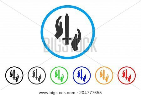 Classic Guard rounded icon. Style is a flat Classic guard gray symbol inside light blue circle with black, gray, green, blue, red, orange color versions.
