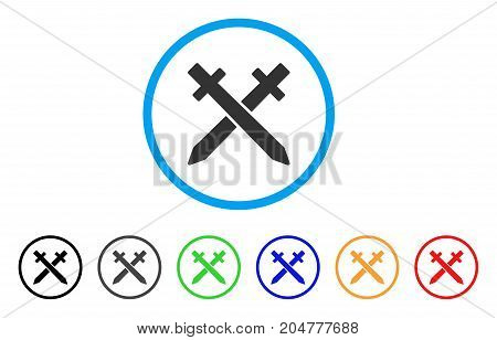 Crossing Swords rounded icon. Style is a flat crossing swords gray symbol inside light blue circle with black, gray, green, blue, red, orange versions. Vector designed for web and software interfaces.
