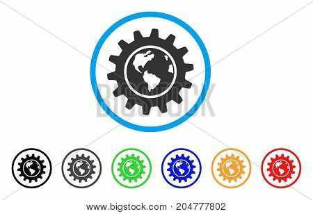Earth Engineering rounded icon. Style is a flat earth engineering gray symbol inside light blue circle with black, gray, green, blue, red, orange variants.