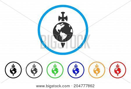 Earth Guard rounded icon. Style is a flat Earth guard gray symbol inside light blue circle with black, gray, green, blue, red, orange versions. Vector designed for web and software interfaces.