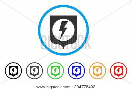 Electric Protection rounded icon. Style is a flat electric protection grey symbol inside light blue circle with black, gray, green, blue, red, orange color versions.