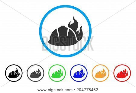 Fire Helmet rounded icon. Style is a flat fire helmet grey symbol inside light blue circle with black, gray, green, blue, red, orange color versions. Vector designed for web and software interfaces.