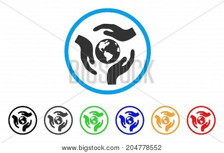 Global Care rounded icon. Style is a flat global care gray symbol inside light blue circle with black, gray, green, blue, red, orange variants. Vector designed for web and software interfaces.