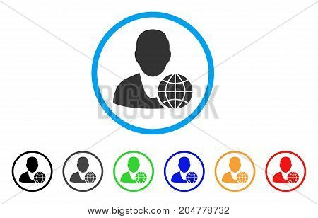 Global Manager rounded icon. Style is a flat global manager grey symbol inside light blue circle with black, gray, green, blue, red, orange color versions.