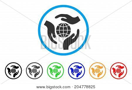 Global Protection rounded icon. Style is a flat global protection grey symbol inside light blue circle with black, gray, green, blue, red, orange variants.