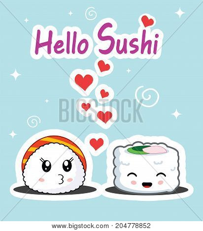 Cute sushi characters in love. Concept of romantic illustration for menu or banner design. Vector