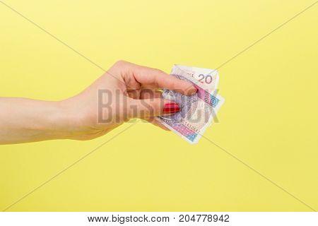 Twenty Zloty In The Woman's Hand, Yellow Background