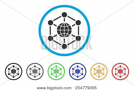Global Web rounded icon. Style is a flat Global web grey symbol inside light blue circle with black, gray, green, blue, red, orange versions. Vector designed for web and software interfaces.