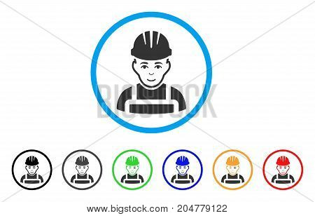 Happy Mechanic rounded icon. Style is a flat Happy mechanic gray symbol inside light blue circle with black, gray, green, blue, red, orange variants. Vector designed for web and software interfaces.