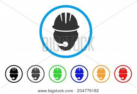 Industrial Operator rounded icon. Style is a flat Industrial operator grey symbol inside light blue circle with black, gray, green, blue, red, orange variants.