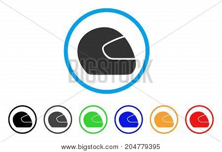 Motorcycle Helmet rounded icon. Style is a flat motorcycle helmet gray symbol inside light blue circle with black, gray, green, blue, red, orange variants.
