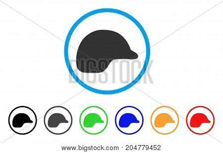 Motorcycle Helmet rounded icon. Style is a flat motorcycle helmet grey symbol inside light blue circle with black, gray, green, blue, red, orange variants.