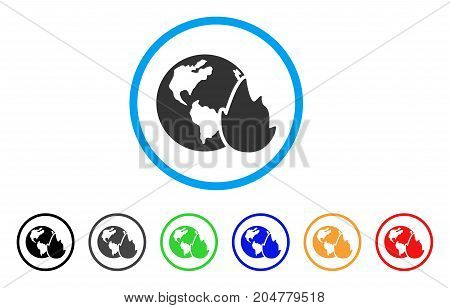 Planet Flame rounded icon. Style is a flat planet flame gray symbol inside light blue circle with black, gray, green, blue, red, orange versions. Vector designed for web and software interfaces.
