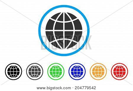 Planet Globe rounded icon. Style is a flat Planet globe grey symbol inside light blue circle with black, gray, green, blue, red, orange variants. Vector designed for web and software interfaces.