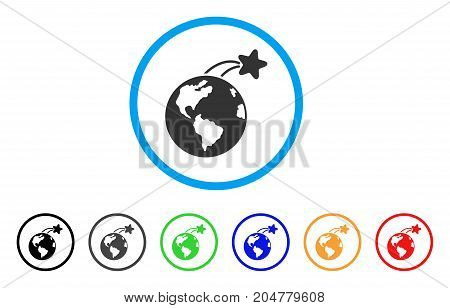 Rising Satellite On Earth rounded icon. Style is a flat rising satellite on earth gray symbol inside light blue circle with black, gray, green, blue, red, orange variants.