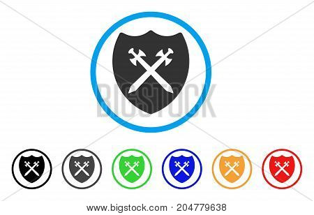 Security Shield rounded icon. Style is a flat security shield grey symbol inside light blue circle with black, gray, green, blue, red, orange variants. Vector designed for web and software interfaces.
