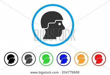 Soldier Helmet rounded icon. Style is a flat soldier helmet grey symbol inside light blue circle with black, gray, green, blue, red, orange variants. Vector designed for web and software interfaces.