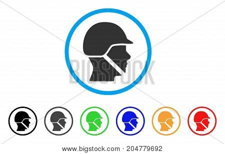 Soldier Helmet rounded icon. Style is a flat soldier helmet gray symbol inside light blue circle with black, gray, green, blue, red, orange variants. Vector designed for web and software interfaces.