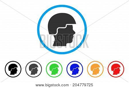 Soldier Helmet rounded icon. Style is a flat soldier helmet gray symbol inside light blue circle with black, gray, green, blue, red, orange color versions.
