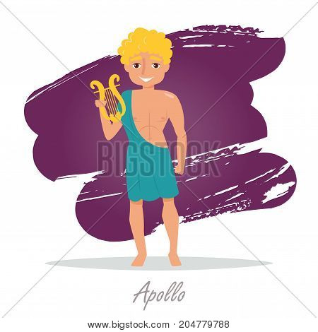 Apollo. Greek gods. Vector illustration. Cartoon character Isolated Flat Mythology