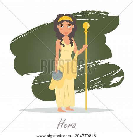 Hera. Greek gods. Vector illustration. Cartoon character Isolated Flat Mythology