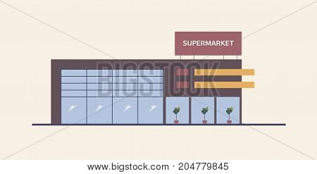 Supermarket, shopping mall or big box store built in contemporary architectural style. Modern building with large windows. Commercial property for retail or real estate. Flat vector illustration