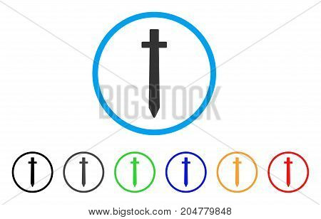 Symbolic Sword rounded icon. Style is a flat symbolic sword grey symbol inside light blue circle with black, gray, green, blue, red, orange versions. Vector designed for web and software interfaces.
