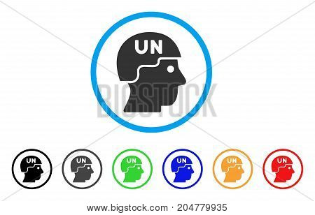 United Nations Soldier Helmet rounded icon. Style is a flat united nations soldier helmet grey symbol inside light blue circle with black, gray, green, blue, red, orange versions.