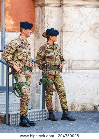 ROME, ITALY - AUGUST 31, 2013: Soldiers of the Italian army on the street of Rome, Italy