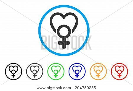 Female Love rounded icon. Style is a flat female love grey symbol inside light blue circle with black, gray, green, blue, red, orange color versions. Vector designed for web and software interfaces.