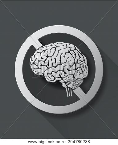No thinking sign with brain.icon vector.illustration style.