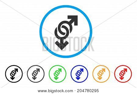 Gay Symbol rounded icon. Style is a flat gay symbol gray symbol inside light blue circle with black, gray, green, blue, red, orange variants. Vector designed for web and software interfaces.