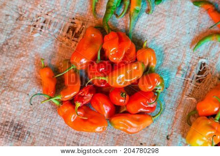 Colorful organic red paprika being sold at local food market.