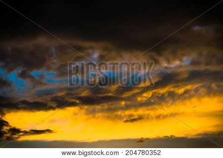 The Dark Heaven Of Sky Landscape With Beautiful Colorful Cloud