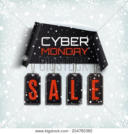 Cyber monday sale. Curved paper banner with black price tags on winter background with snow and snowflakes. Vector illustration.